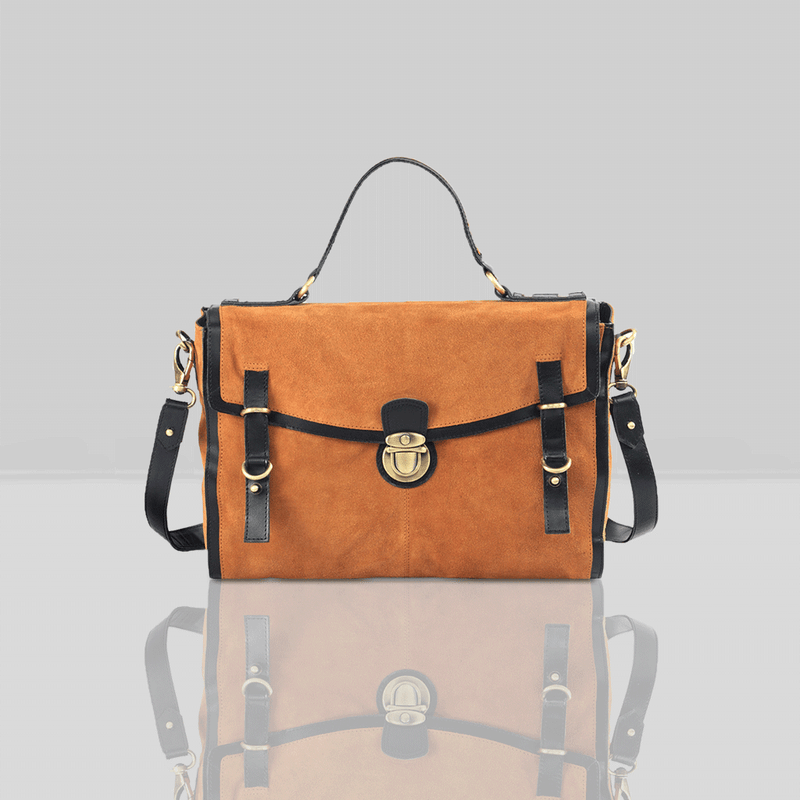 'QUINTON' Tan Designer Leather Suede Tab-over Satchel