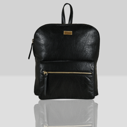 'EUSTON' Black Vintage Zip Top Small Leather Backpack