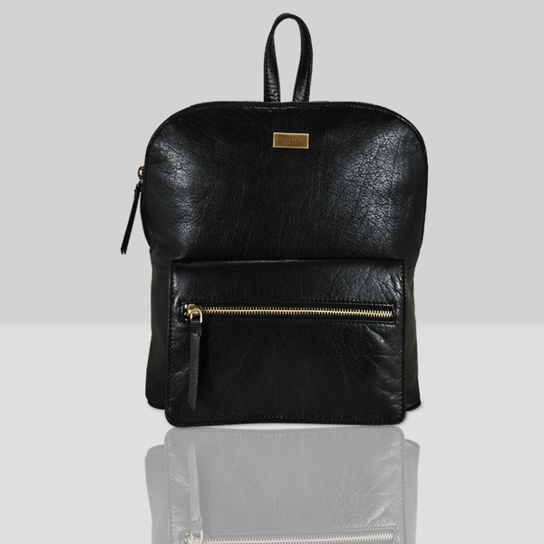 'EUSTON' - Black Full Grain Leather Zip-top Backpack