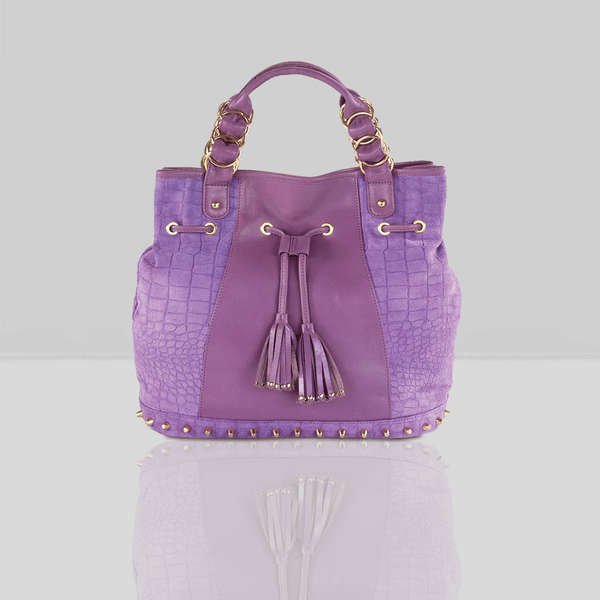 'WINDEMERE' - Purple Designer Crocodile Printed Suede Leather Tote Bag