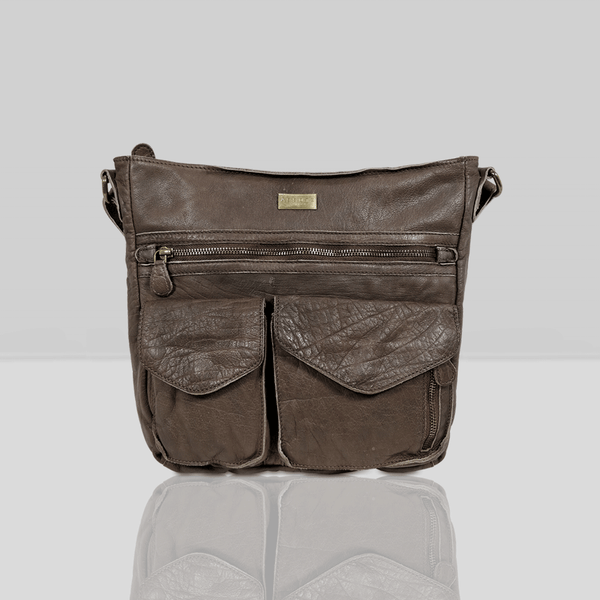 'WYNDRELL' Dark Brown Washed Vintage Leather Shoulder Bag