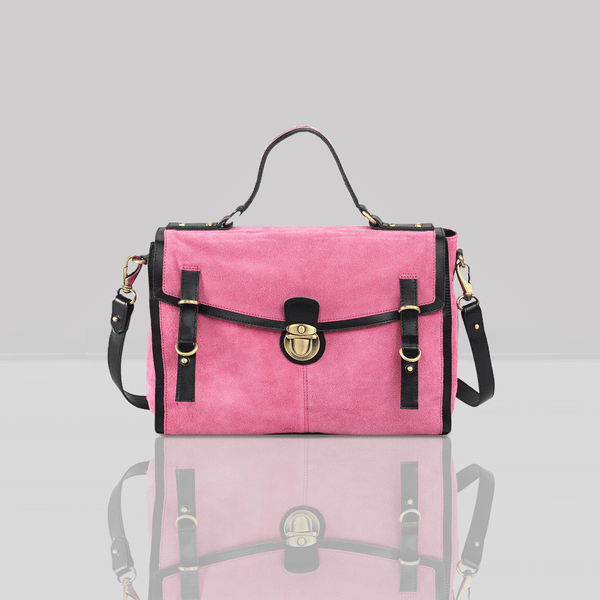 'QUINTON' Pink Designer Suede Leather Tab-over Satchel