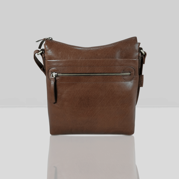 'VICTORIA' Brown Vintage Leather Crossbody Bag
