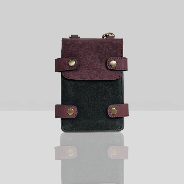'SPADE' - Black & Plum Vintage Leather Bifold Mini Travel Crossbody bag