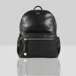 'ISABELLA' - Black Lightweight Luxurious Baby Changing/Diaper Leather Backpack