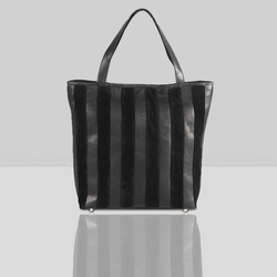 'CAMBRIDGE' Classic Black Designer Leather Tote Bag