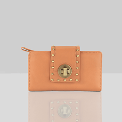 'KENSINGTON' Tan Twist Lock Leather Clutch Bag