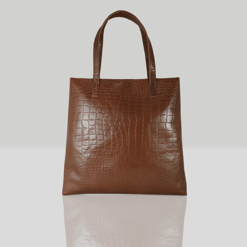 'FREYA' Tan Semi Structured Unlined Croc Leather Tote Bag
