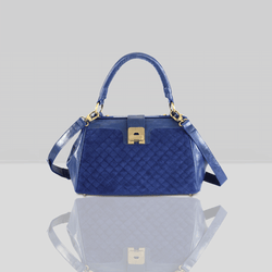 'ROSIE' - Blue Designer Quilted Leather Suede Tab-over Bowling Bag
