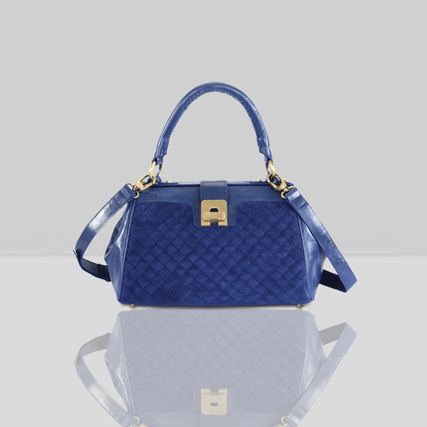 'ROSIE' Blue Designer Quilted Leather Suede Tab-over Bowling Bag