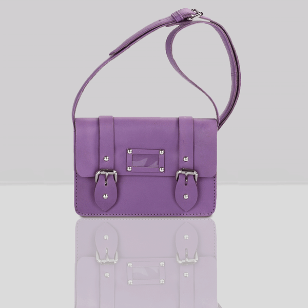 'CLARA' Mini Purple Designer Leather Flap-over Satchel
