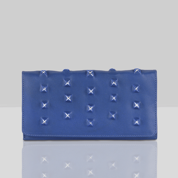 'STARK' Blue Trifold Full grain leather Star Slit Purse