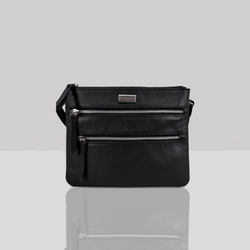 'WINDSOR' - Black Nappa Pebble Grain Leather Zip Top Organiser Crossbody Bag