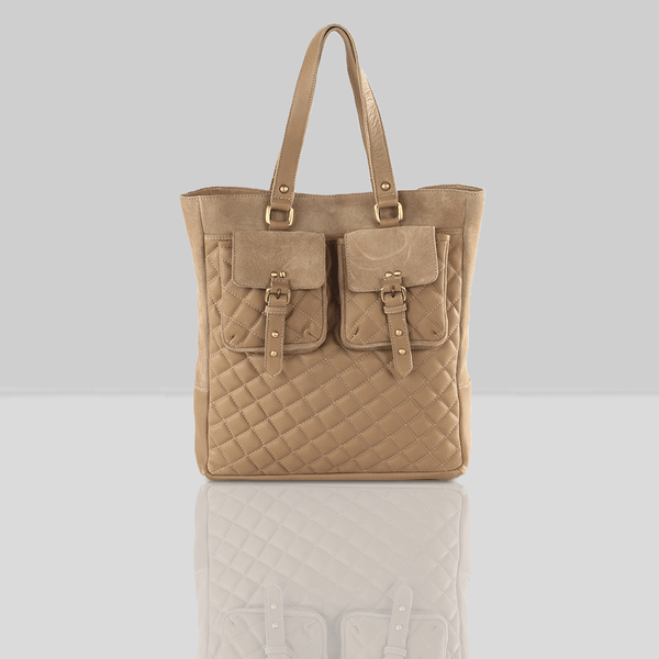 'KINGSBURY' - Nude Designer Leather Quilted Tote Bag