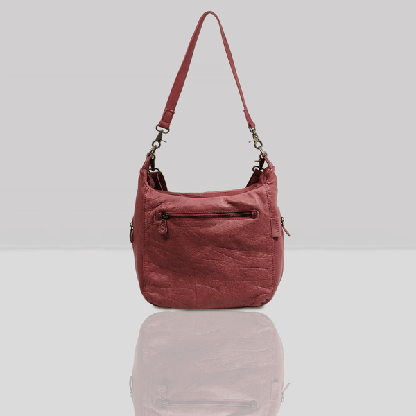 'JAMES' Cranberry Red Vintage Leather Shoulder Bag
