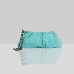 'SCARLETT' Turquoise Designer Leather Clutch Bag
