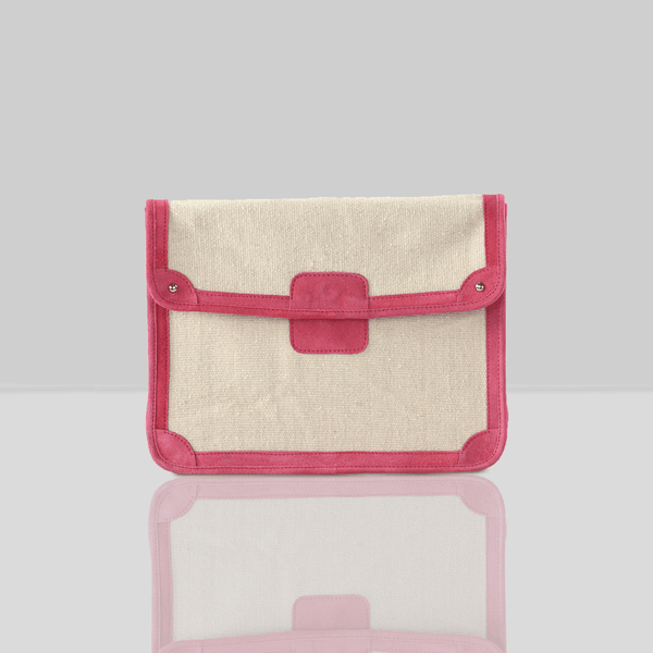 'SAVILE' Pink Suede Leather Trims Canvas Flap-over Portfolio Bag