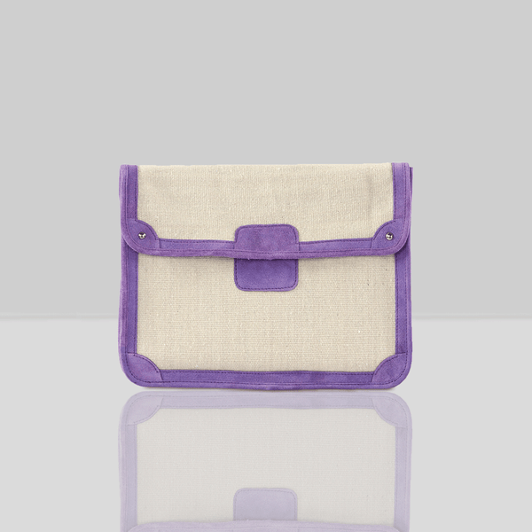 'SAVILE' Purple Suede Leather Trims Canvas Flap-over Portfolio Bag