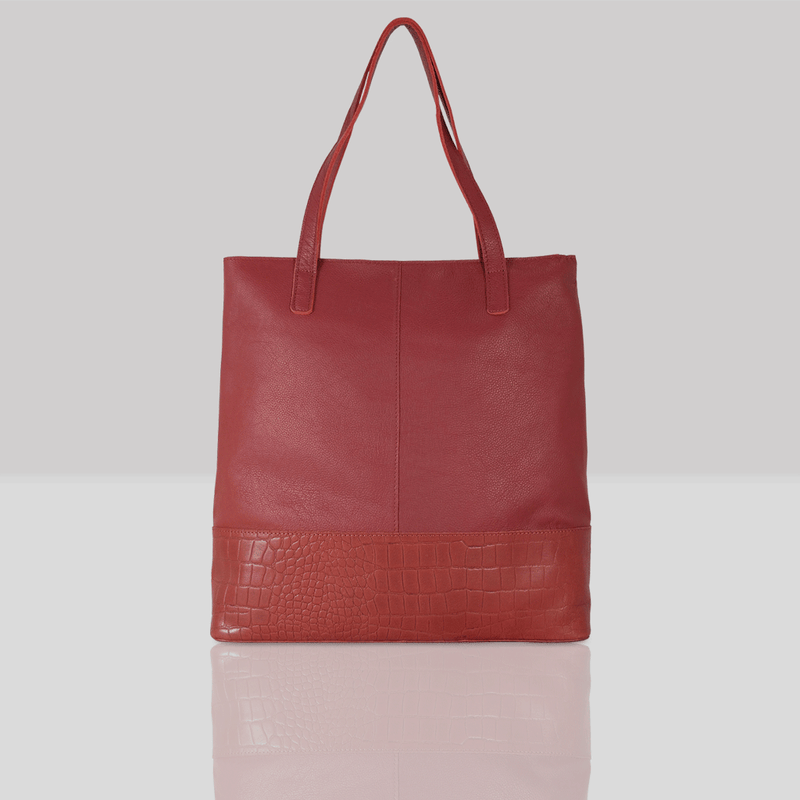 'SIENNA' Paprika Red Semi Soft Unlined Leather Tote Bag