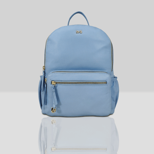 'ISABELLA' - Baby Blue Lightweight Luxurious Baby Changing/Diaper Leather Backpack