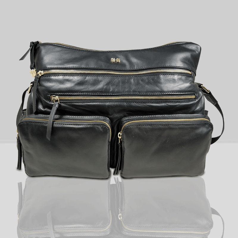 'SUZANNE' Black Lightweight Luxurious Baby Changing/Diaper Leather Crossbody Organiser Bag