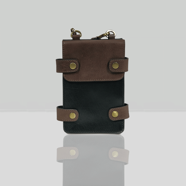 'SPADE' - Black & Dark Brown Vintage Leather Bifold Mini Travel Crossbody bag