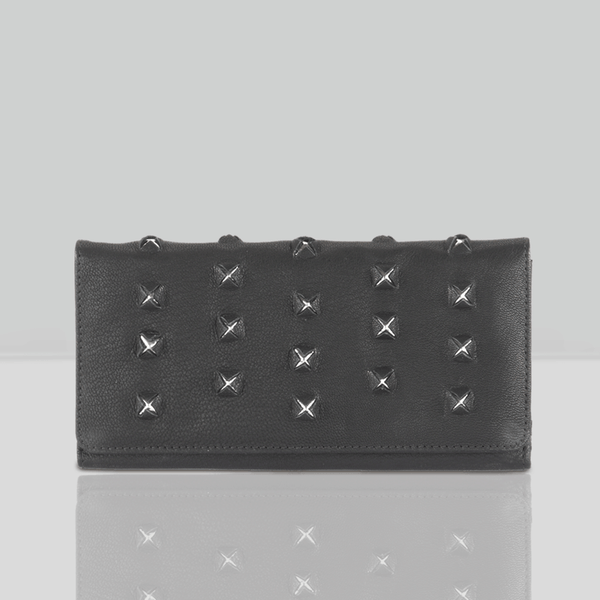 'STARK' Black Trifold Full grain leather Star Slit Purse