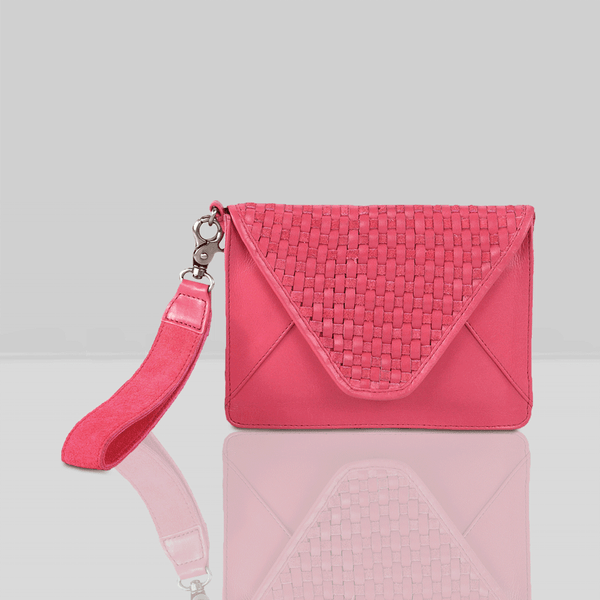'CRESCENT' - Pink Leather Flap-over Woven Wristlet Bag