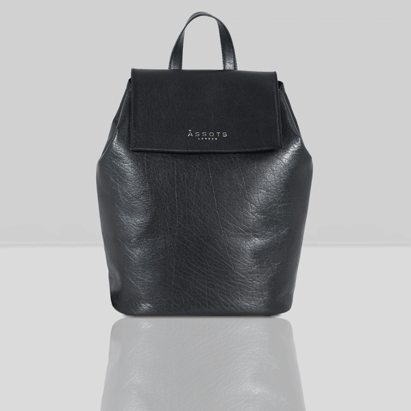 'JERMYN' - Classic Black Full Grain Leather Flap-over Backpack