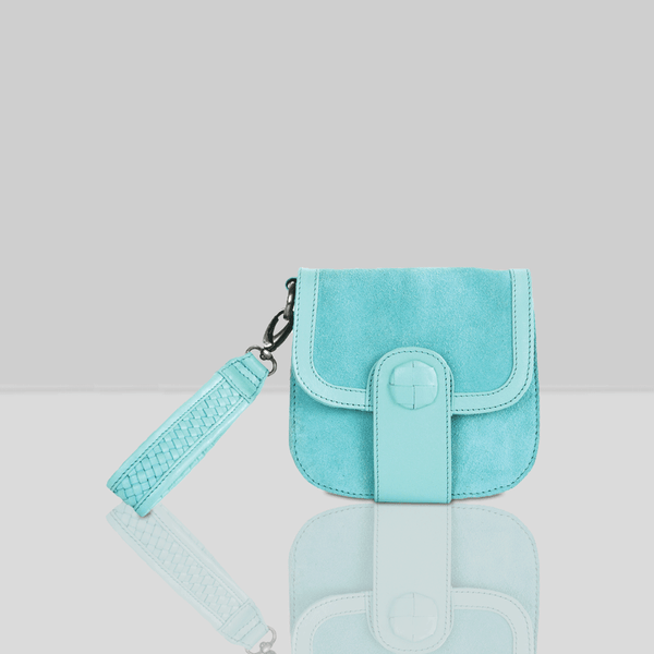 'FLOYD' Turquoise Suede Leather Tab-over Wristlet