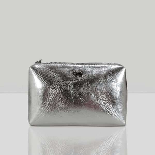 'OLIVIA' Silver Metallic Leather Make up Bag