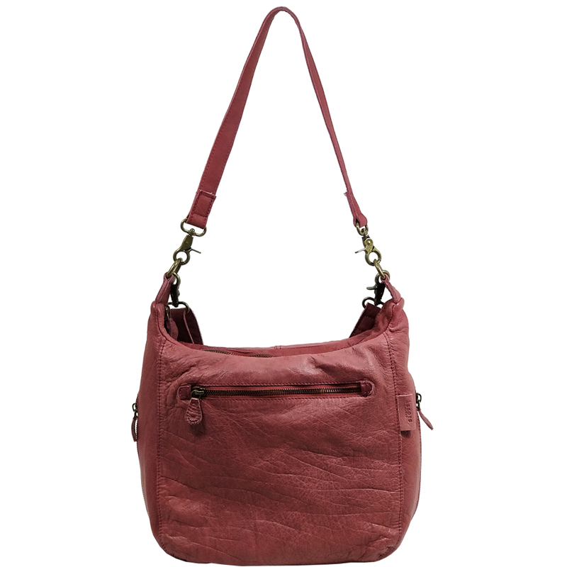'JAMES' -  Cranberry Red Vintage Aqua Leather Shoulder Bag