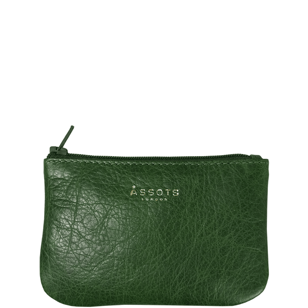 'Poppy' - Tree Top Green Full Grain Leather Zip Top Coin Purse