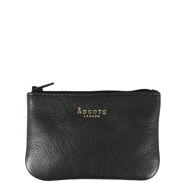'Poppy' Black Full Grain Leather Zip Top Coin Purse