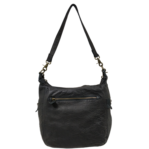 'JAMES' - Black Washed Vintage Leather Shoulder Bag