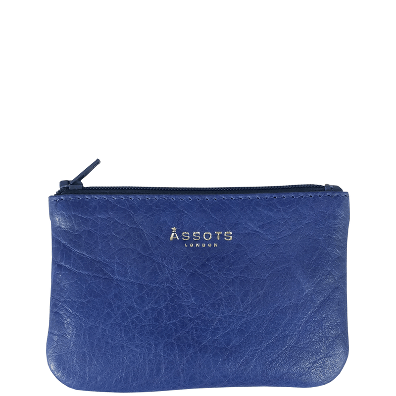 'Poppy' - Blue Iris Full Grain Leather Zip Top Coin Purse