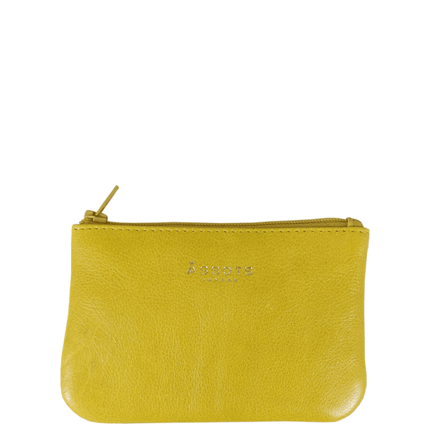 'Poppy' Yellow Full Grain Leather Zip Top Coin Purse