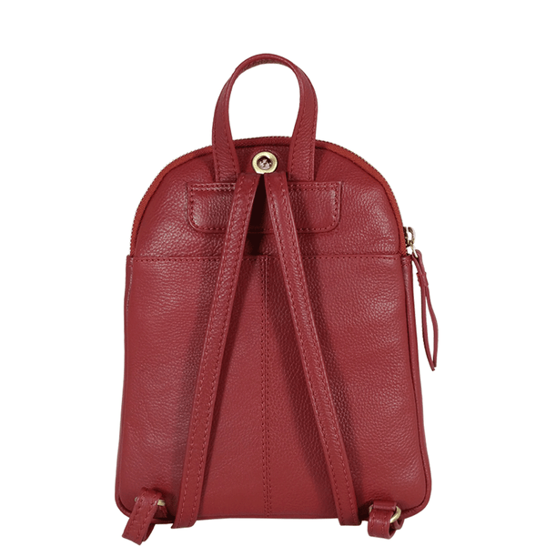 'GEORGE' - Paprika Red Nappa Full Grain Mini Leather Backpack