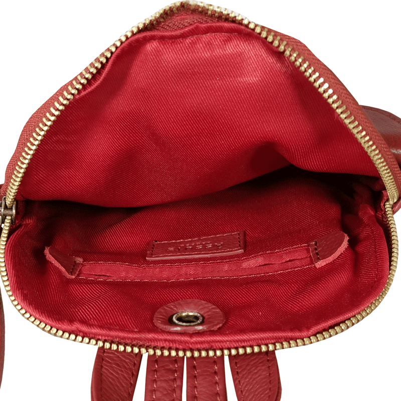 'GEORGE' Paprika Red Mini Leather Backpack