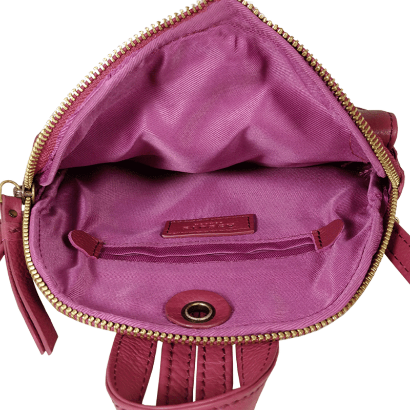 'GEORGE' - Carmine Pink Nappa Full Grain Mini Leather Backpack