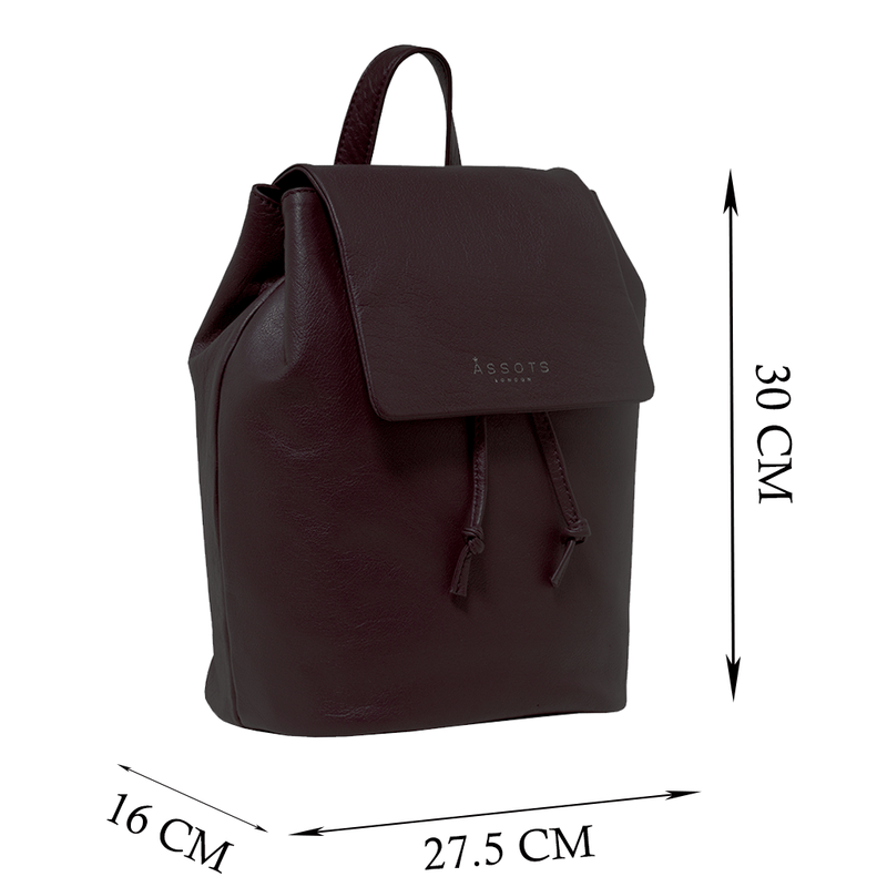 'GRACE' Burgundy Leather Flap-over Backpack