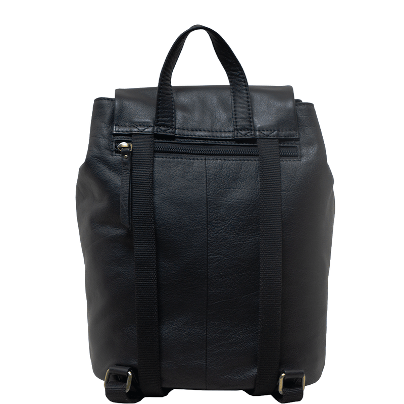 'GRACE' Black Leather Flap-over Backpack