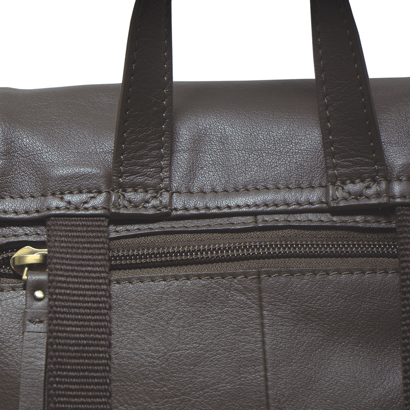 'GRACE' Mokka Brown Leather Flap-over Backpack