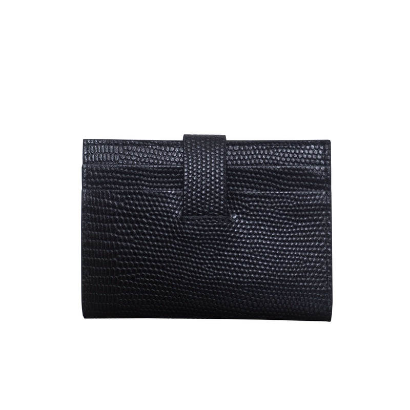 'GROVE' Black Lizard RFID Tab-over Leather Credit Card Holder