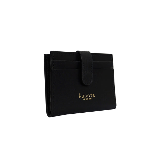 'GROVE' Black Smooth RFID Tab-over Leather Credit Card Holder