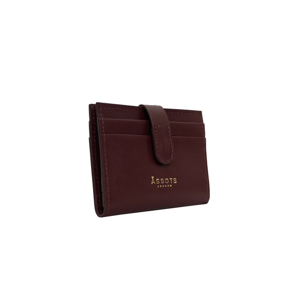 'GROVE' Burgundy Smooth RFID Tab-over Leather Credit Card Holder