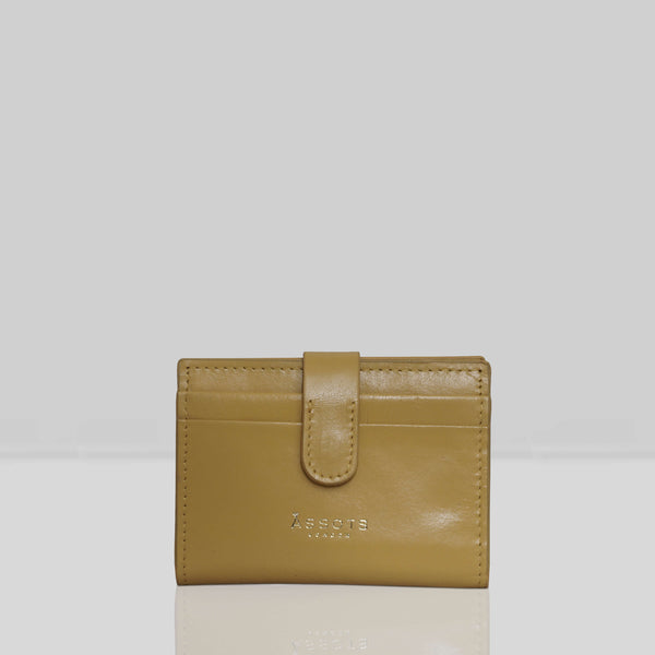 'GROVE' Mustard Smooth RFID Tab-over Leather Credit Card Holder