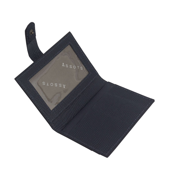 'GROVE' Navy Lizard RFID Tab-over Leather Credit Card Holder