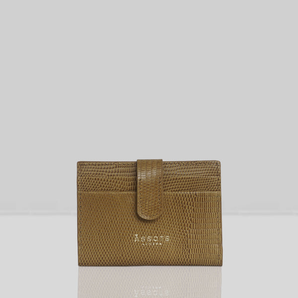 'GROVE' Mustard Ochre Lizard RFID Tab-over Leather Credit Card Holder
