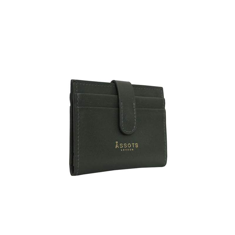 'GROVE' Forest Green Smooth RFID Tab-over Leather Credit Card Holder